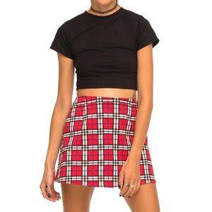 Motel Rocks Red Plaid Skirt